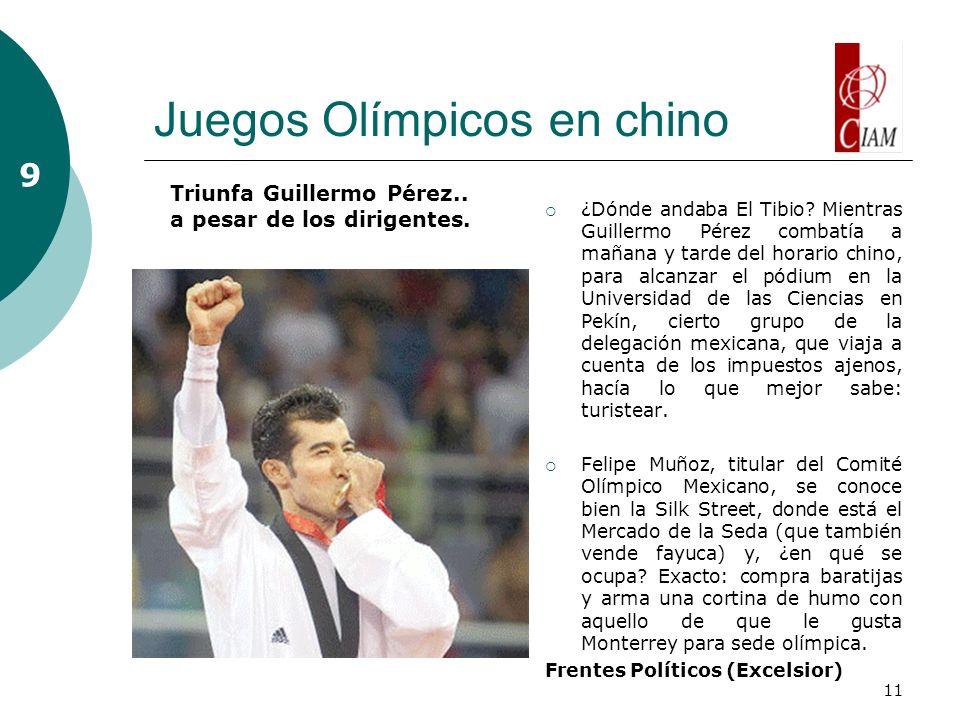 11 Juegos Olímpicos en chino ¿Dónde andaba El Tibio? Mientras Guillermo Pérez combatía a mañana y tarde del horario chino, para alcanzar el pódium en