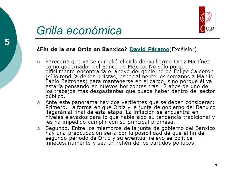 7 Grilla económica 5 ¿Fin de la era Ortiz en Banxico.