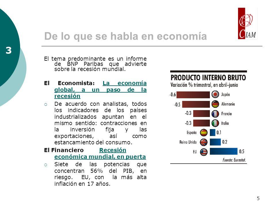5 De lo que se habla en economía El tema predominante es un informe de BNP Paribas que advierte sobre la recesión mundial.