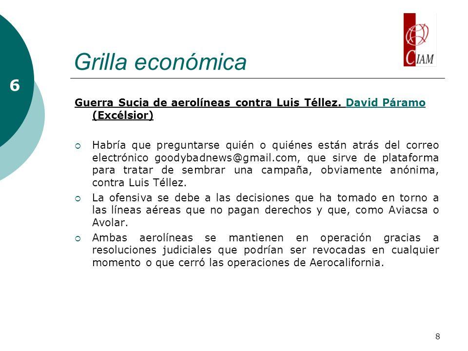 8 Grilla económica 6 Guerra Sucia de aerolíneas contra Luis Téllez.