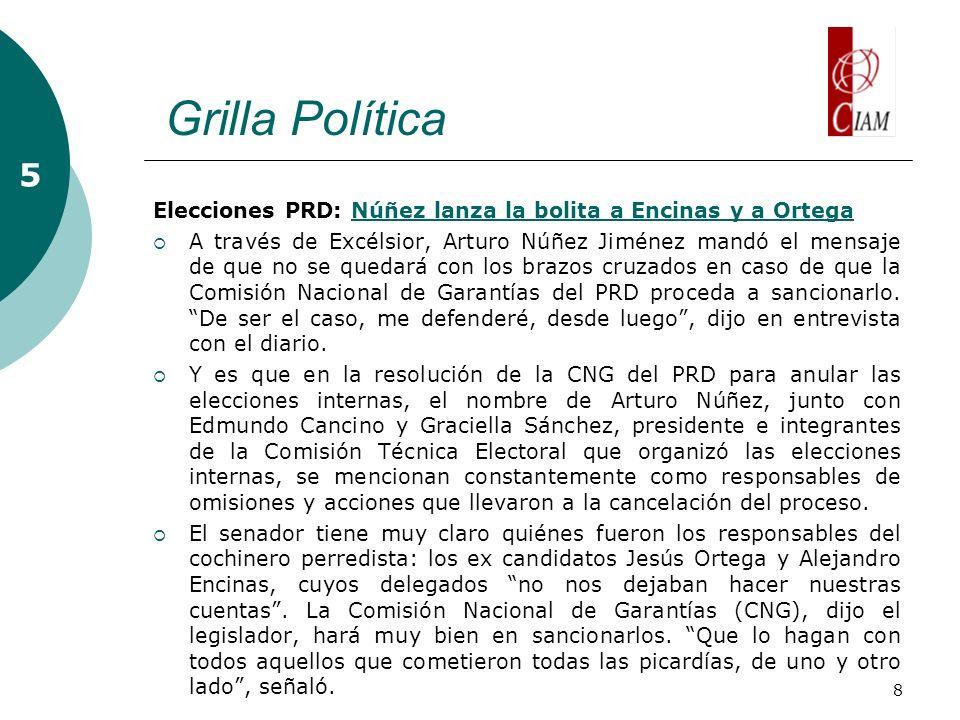 8 Grilla Política 5 Elecciones PRD: Núñez lanza la bolita a Encinas y a OrtegaNúñez lanza la bolita a Encinas y a Ortega A través de Excélsior, Arturo