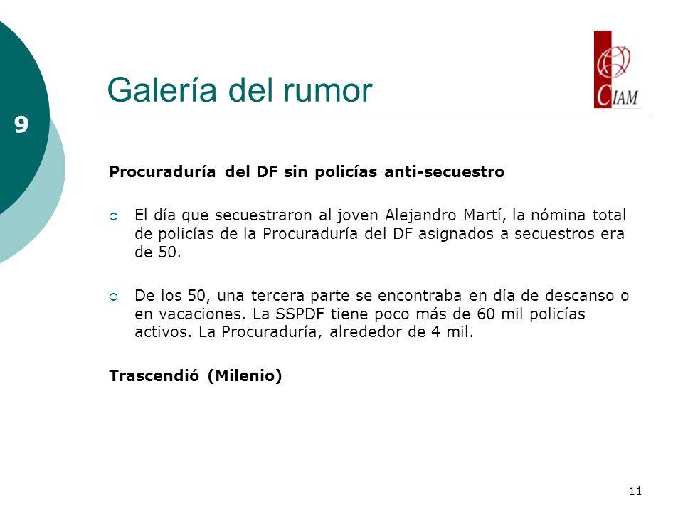 11 Galería del rumor 9 Procuraduría del DF sin policías anti-secuestro El día que secuestraron al joven Alejandro Martí, la nómina total de policías de la Procuraduría del DF asignados a secuestros era de 50.