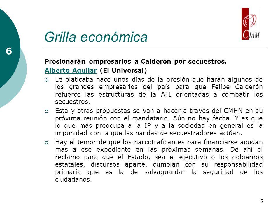 8 Grilla económica 6 Presionarán empresarios a Calderón por secuestros.