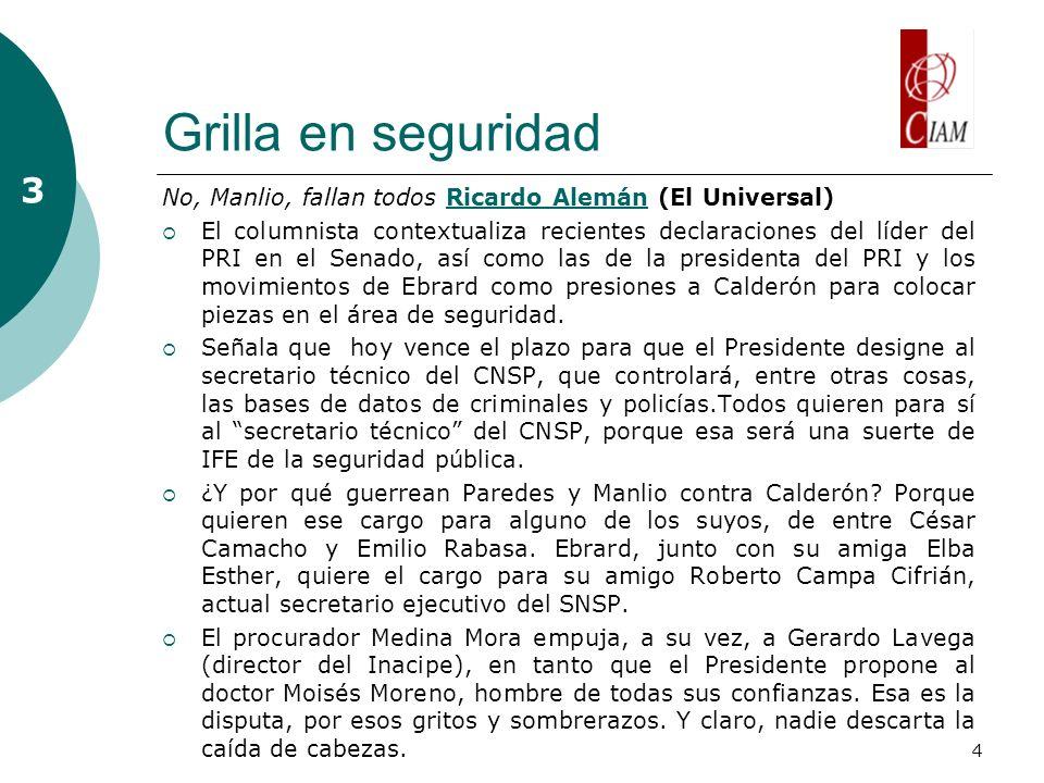4 Grilla en seguridad No, Manlio, fallan todos Ricardo Alemán (El Universal)Ricardo Alemán El columnista contextualiza recientes declaraciones del líd