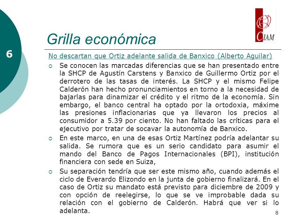 8 Grilla económica 6 No descartan que Ortiz adelante salida de Banxico (Alberto Aguilar) Se conocen las marcadas diferencias que se han presentado ent