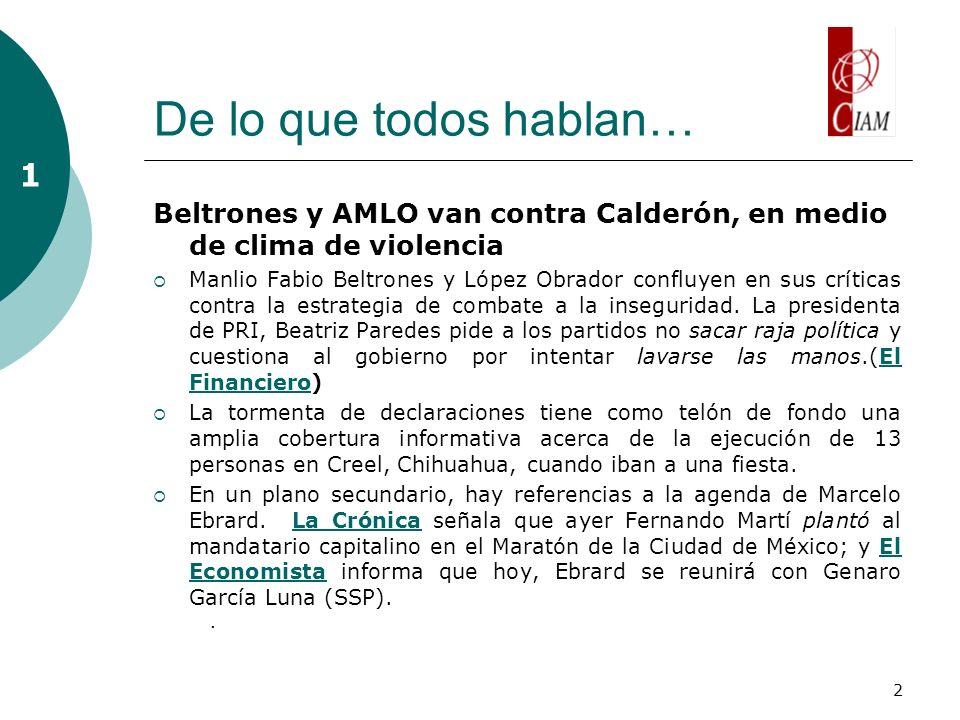 2 De lo que todos hablan… Beltrones y AMLO van contra Calderón, en medio de clima de violencia Manlio Fabio Beltrones y López Obrador confluyen en sus críticas contra la estrategia de combate a la inseguridad.