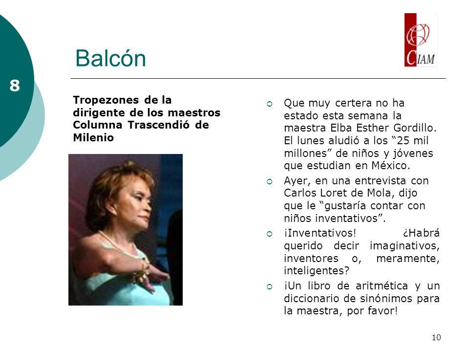 10 Balcón Que muy certera no ha estado esta semana la maestra Elba Esther Gordillo. El lunes aludió a los 25 mil millones de niños y jóvenes que estud