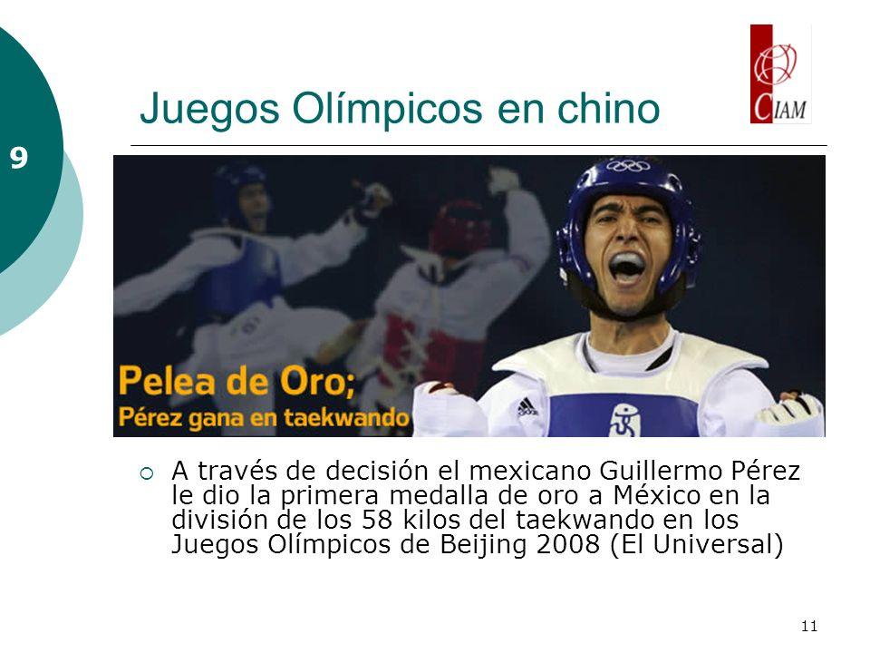 11 Juegos Olímpicos en chino A través de decisión el mexicano Guillermo Pérez le dio la primera medalla de oro a México en la división de los 58 kilos