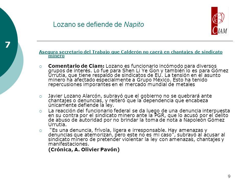 9 Lozano se defiende de Napito 7 Asegura secretario del Trabajo que Calderón no caerá en chantajes de sindicato minero Comentario de Ciam: Lozano es funcionario incómodo para diversos grupos de interés.