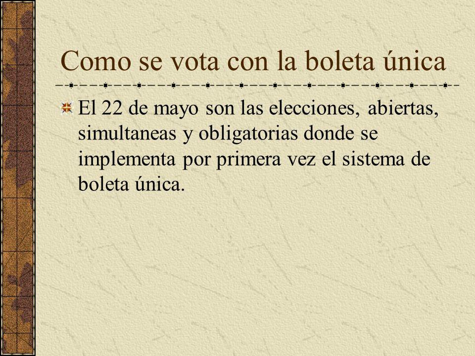 Como se vota con la boleta única El 22 de mayo son las elecciones, abiertas, simultaneas y obligatorias donde se implementa por primera vez el sistema