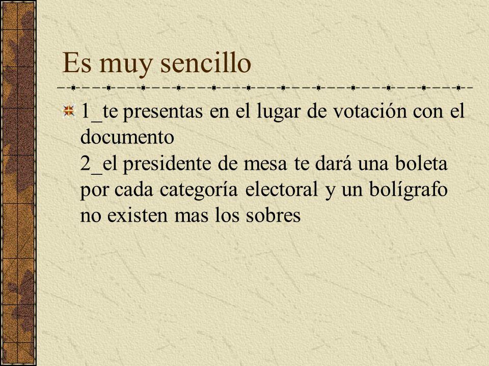 Es muy sencillo 1_te presentas en el lugar de votación con el documento 2_el presidente de mesa te dará una boleta por cada categoría electoral y un b