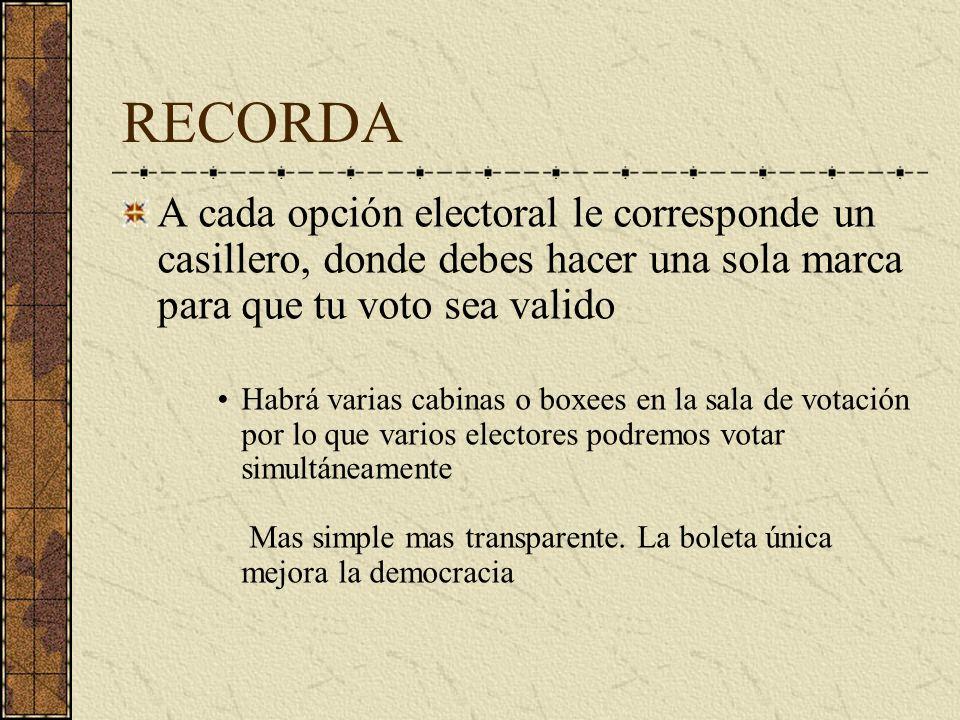 RECORDA A cada opción electoral le corresponde un casillero, donde debes hacer una sola marca para que tu voto sea valido Habrá varias cabinas o boxee