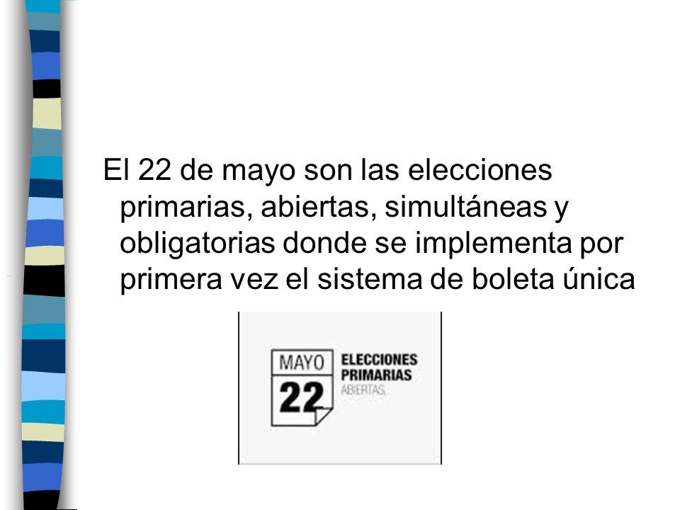 El 22 de mayo son las elecciones primarias, abiertas, simultáneas y obligatorias donde se implementa por primera vez el sistema de boleta única