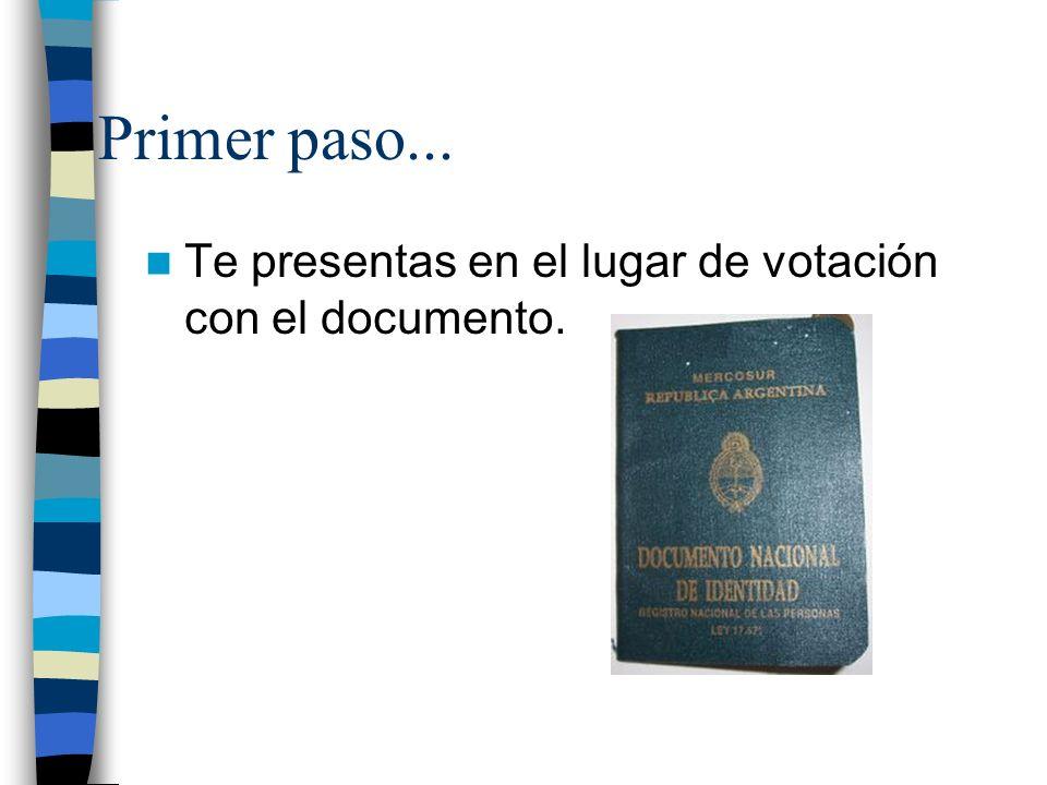 Primer paso... Te presentas en el lugar de votación con el documento.