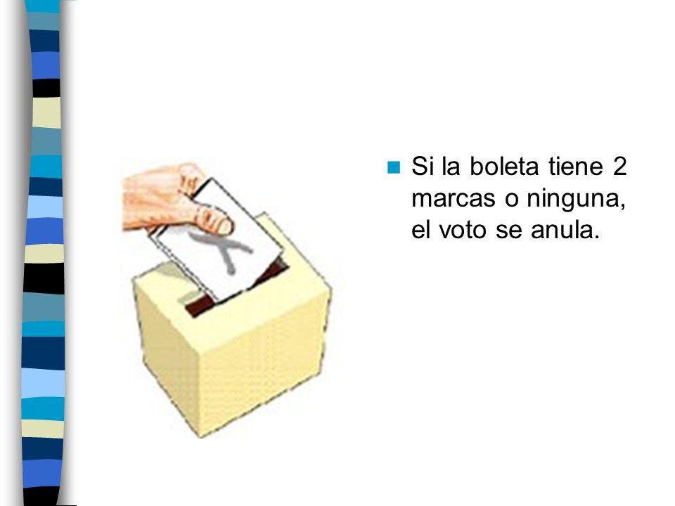 Si la boleta tiene 2 marcas o ninguna, el voto se anula.