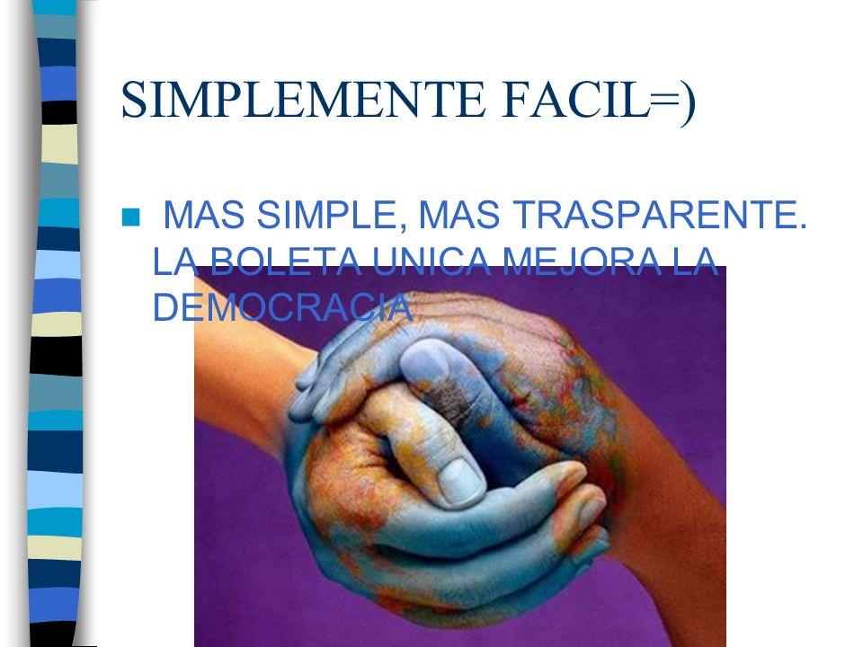SIMPLEMENTE FACIL=) MAS SIMPLE, MAS TRASPARENTE. LA BOLETA UNICA MEJORA LA DEMOCRACIA