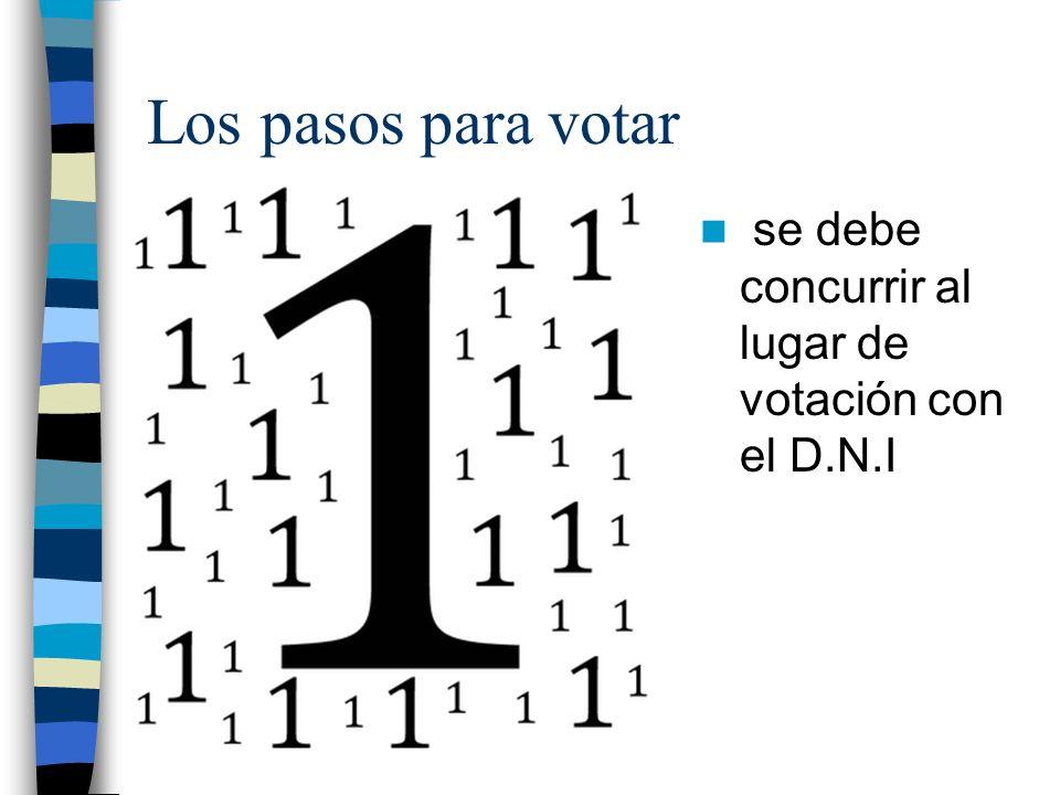 Los pasos para votar se debe concurrir al lugar de votación con el D.N.I
