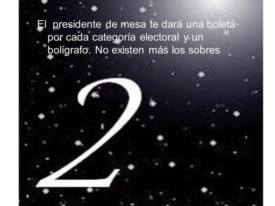 El presidente de mesa te dará una boleta por cada categoría electoral y un bolígrafo.