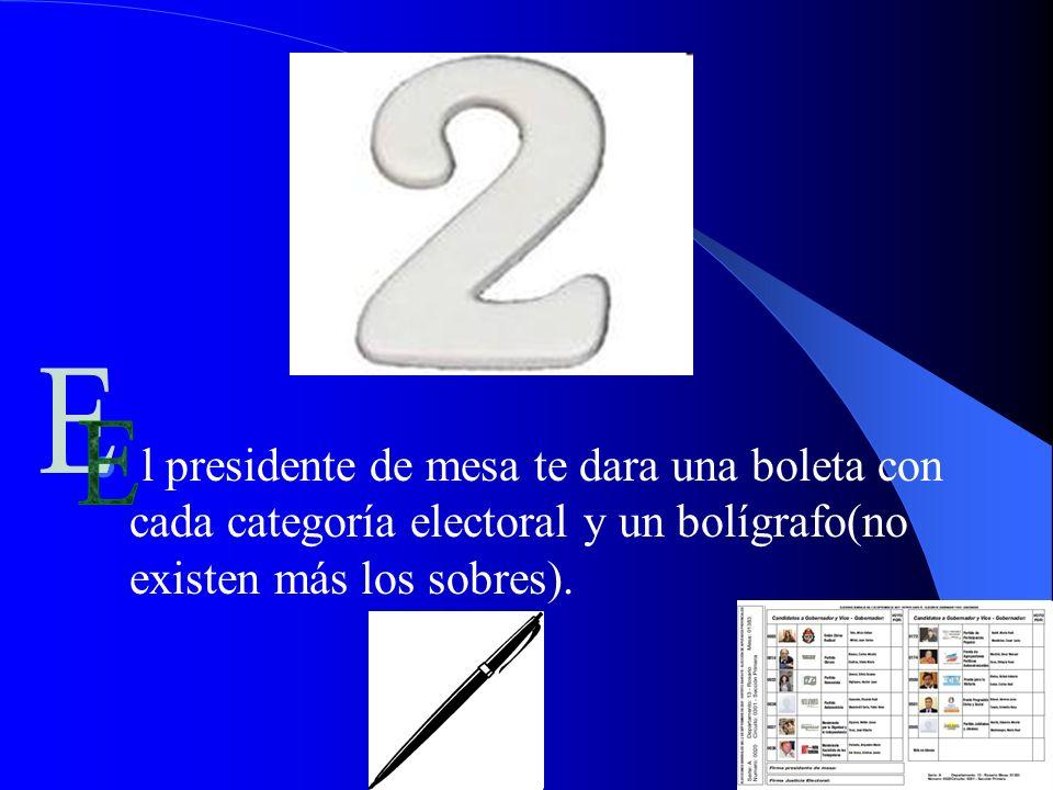 l presidente de mesa te dara una boleta con cada categoría electoral y un bolígrafo(no existen más los sobres).