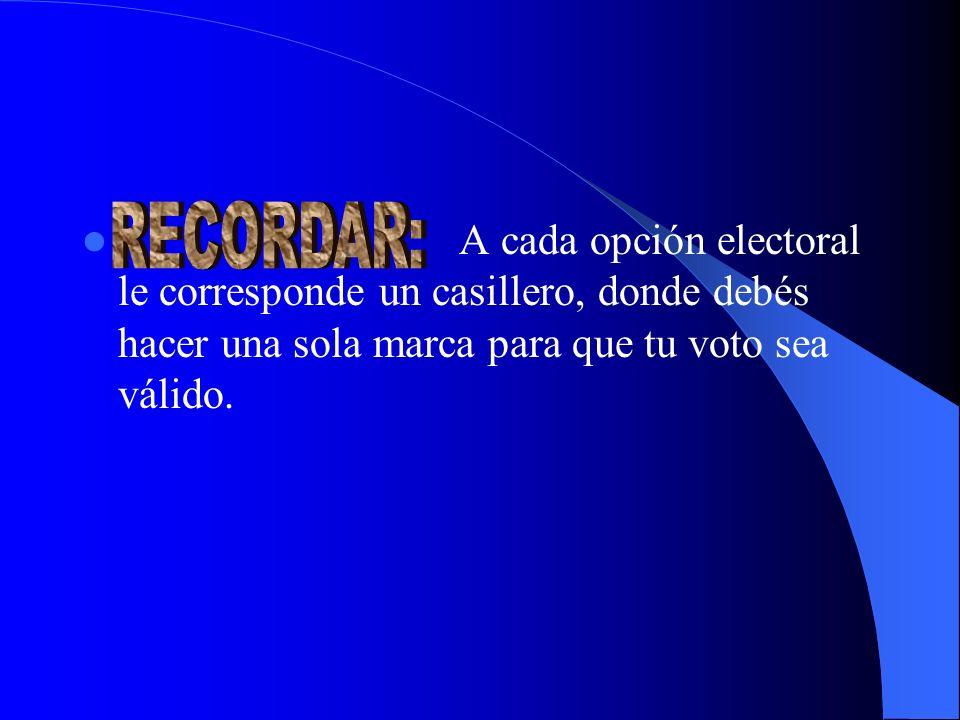 A cada opción electoral le corresponde un casillero, donde debés hacer una sola marca para que tu voto sea válido.