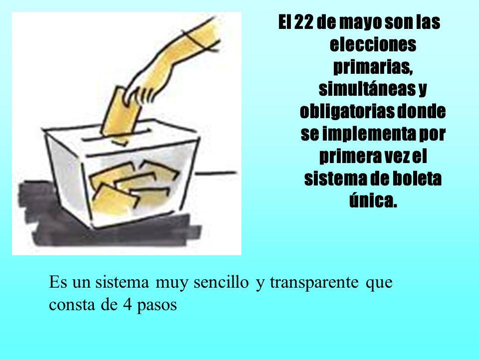 El 22 de mayo son las elecciones primarias, simultáneas y obligatorias donde se implementa por primera vez el sistema de boleta única. Es un sistema m