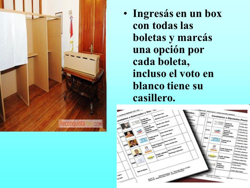 Ingresás en un box con todas las boletas y marcás una opción por cada boleta, incluso el voto en blanco tiene su casillero.