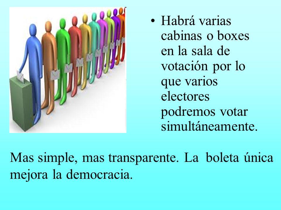 Habrá varias cabinas o boxes en la sala de votación por lo que varios electores podremos votar simultáneamente. Mas simple, mas transparente. La bolet