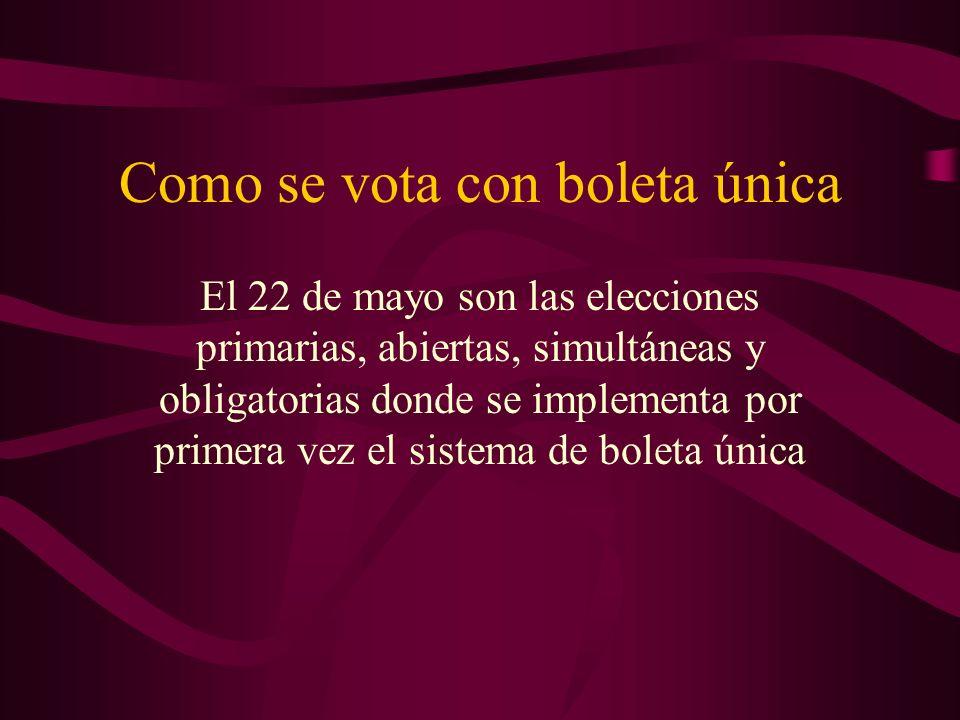 Como se vota con boleta única El 22 de mayo son las elecciones primarias, abiertas, simultáneas y obligatorias donde se implementa por primera vez el sistema de boleta única
