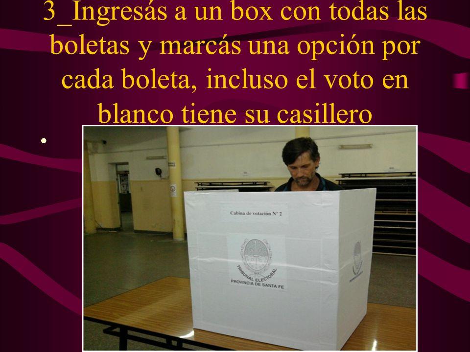 3_Ingresás a un box con todas las boletas y marcás una opción por cada boleta, incluso el voto en blanco tiene su casillero
