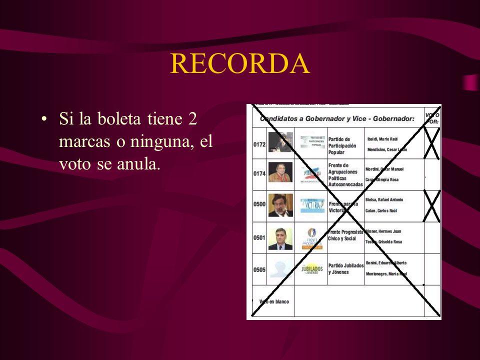RECORDA Si la boleta tiene 2 marcas o ninguna, el voto se anula.