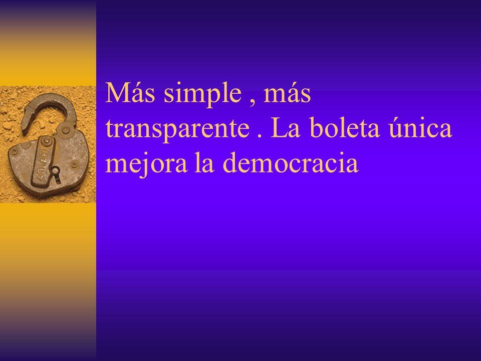 Más simple, más transparente. La boleta única mejora la democracia