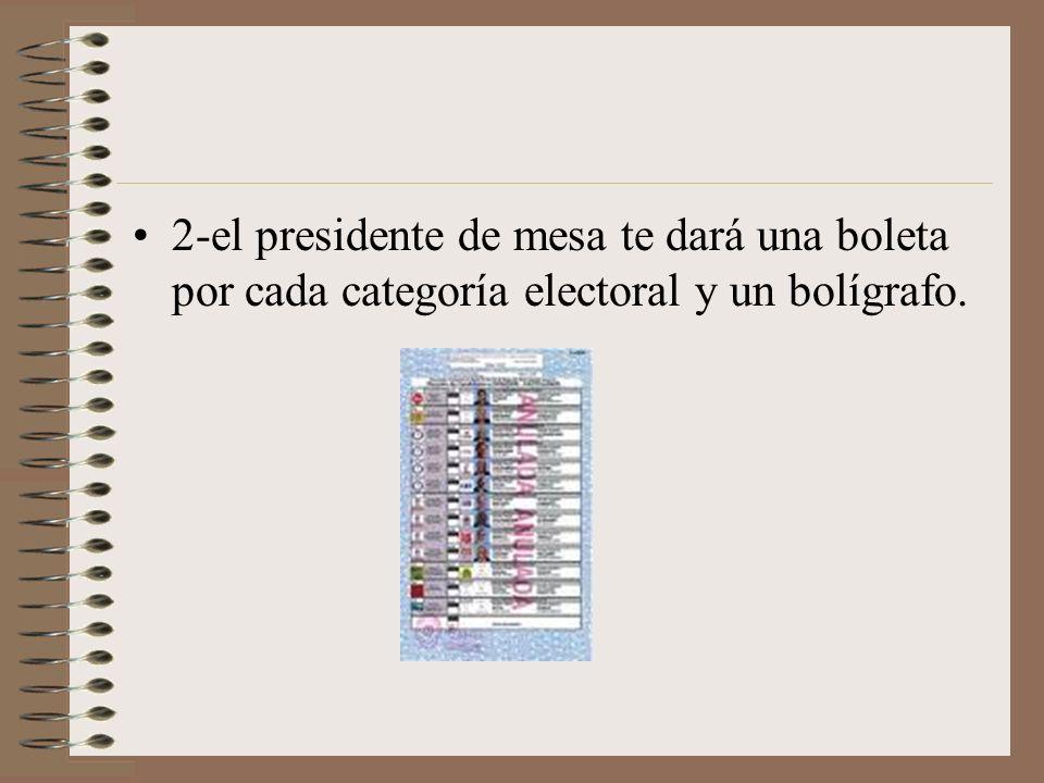 2-el presidente de mesa te dará una boleta por cada categoría electoral y un bolígrafo.