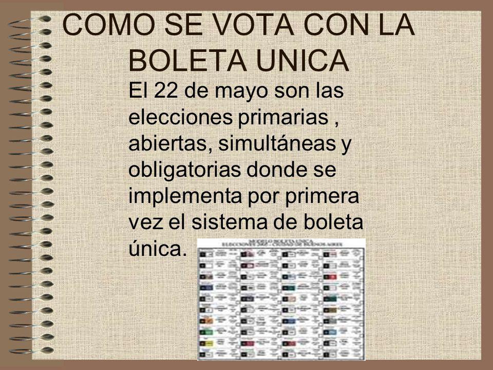 COMO SE VOTA CON LA BOLETA UNICA El 22 de mayo son las elecciones primarias, abiertas, simultáneas y obligatorias donde se implementa por primera vez el sistema de boleta única.