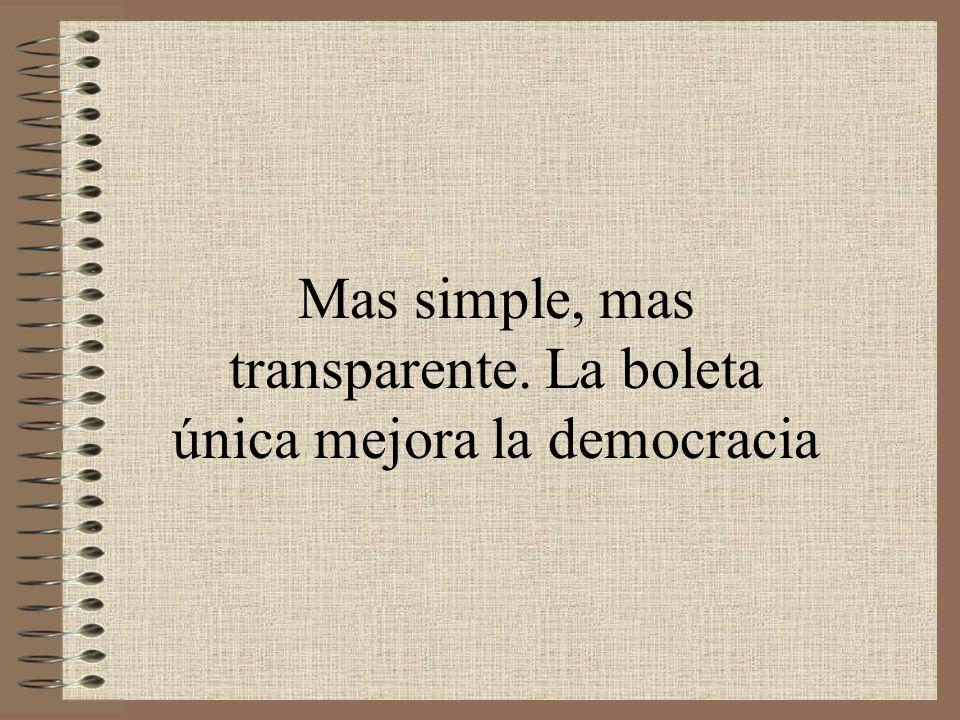 Mas simple, mas transparente. La boleta única mejora la democracia