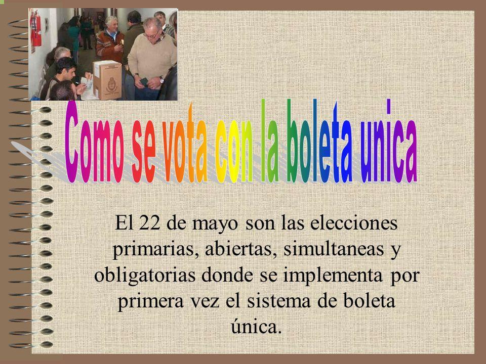 El 22 de mayo son las elecciones primarias, abiertas, simultaneas y obligatorias donde se implementa por primera vez el sistema de boleta única.
