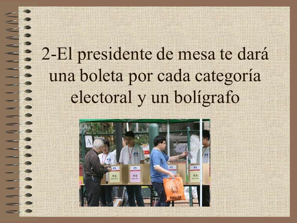 2-El presidente de mesa te dará una boleta por cada categoría electoral y un bolígrafo