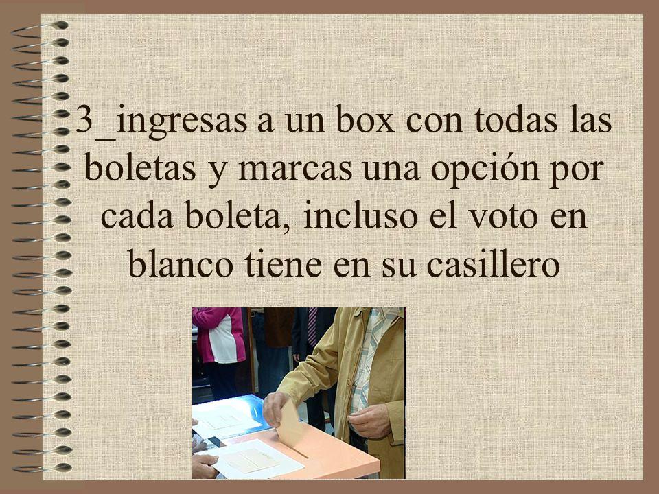 3_ingresas a un box con todas las boletas y marcas una opción por cada boleta, incluso el voto en blanco tiene en su casillero