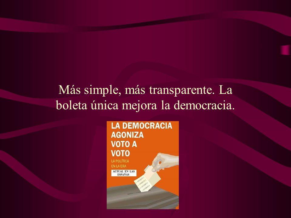 Más simple, más transparente. La boleta única mejora la democracia.