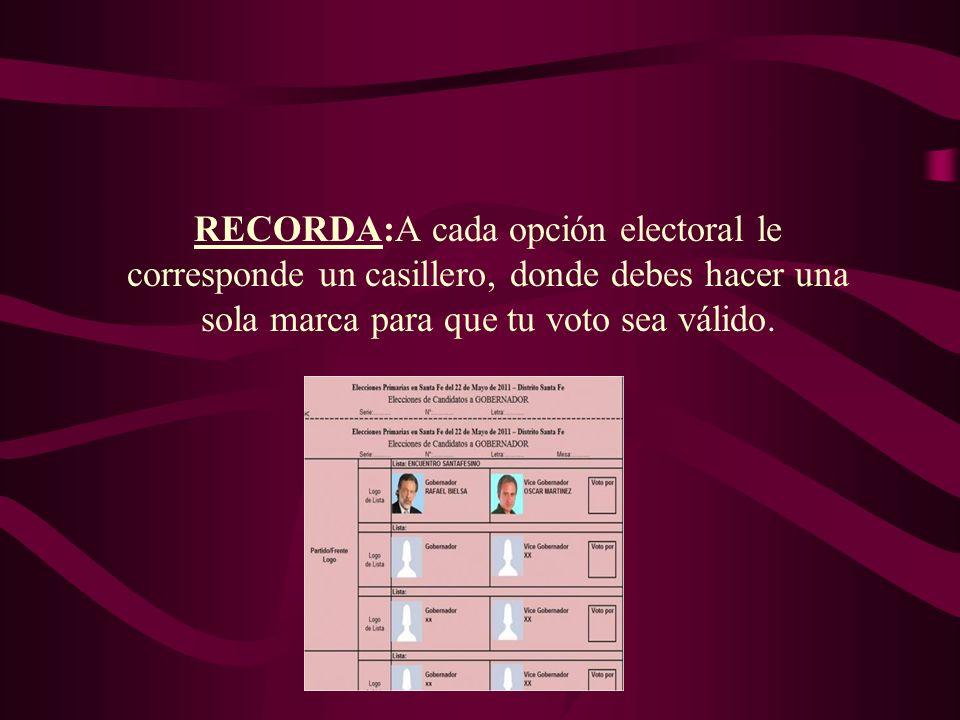 RECORDA:A cada opción electoral le corresponde un casillero, donde debes hacer una sola marca para que tu voto sea válido.