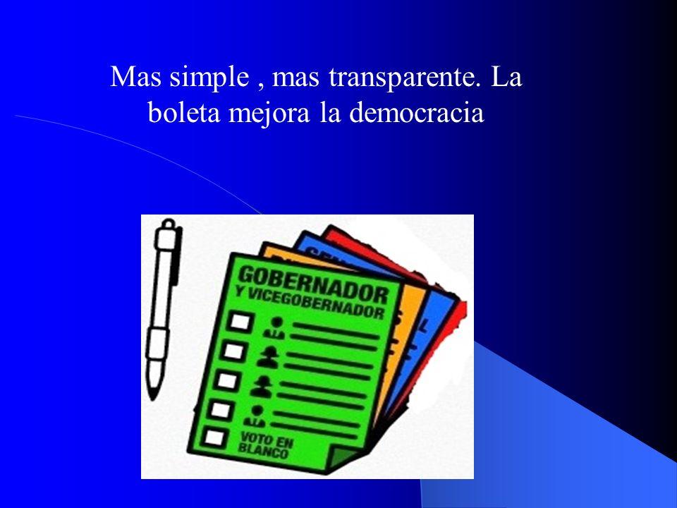 Mas simple, mas transparente. La boleta mejora la democracia