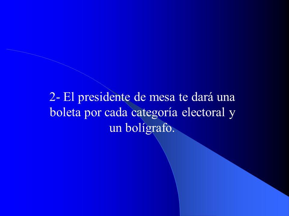 2- El presidente de mesa te dará una boleta por cada categoría electoral y un bolígrafo.