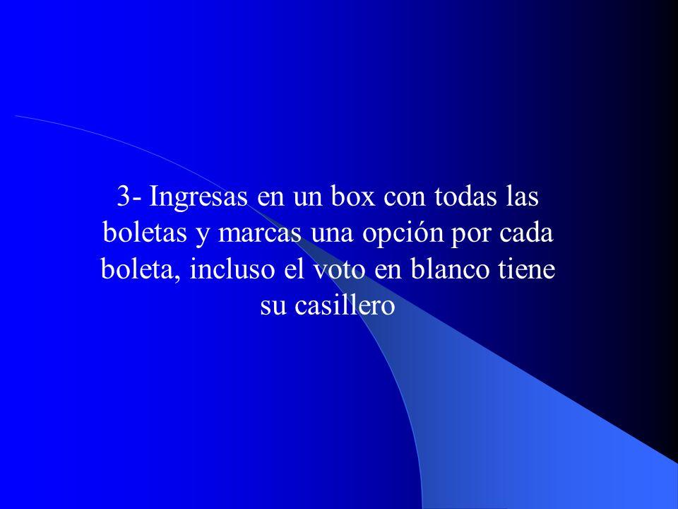 3- Ingresas en un box con todas las boletas y marcas una opción por cada boleta, incluso el voto en blanco tiene su casillero