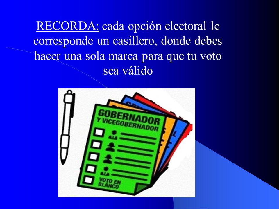 RECORDA: cada opción electoral le corresponde un casillero, donde debes hacer una sola marca para que tu voto sea válido