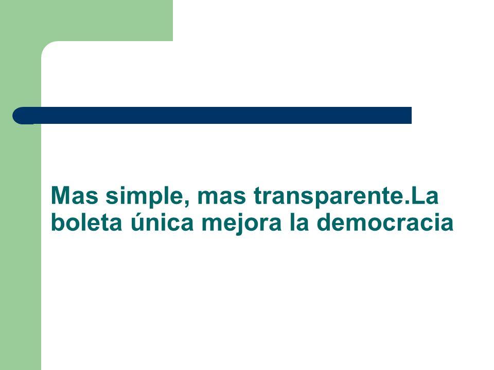 Mas simple, mas transparente.La boleta única mejora la democracia