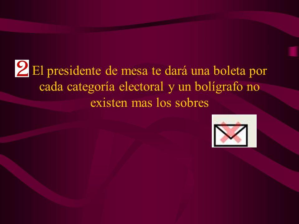 El presidente de mesa te dará una boleta por cada categoría electoral y un bolígrafo no existen mas los sobres
