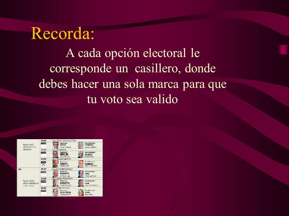 Recorda: A cada opción electoral le corresponde un casillero, donde debes hacer una sola marca para que tu voto sea valido