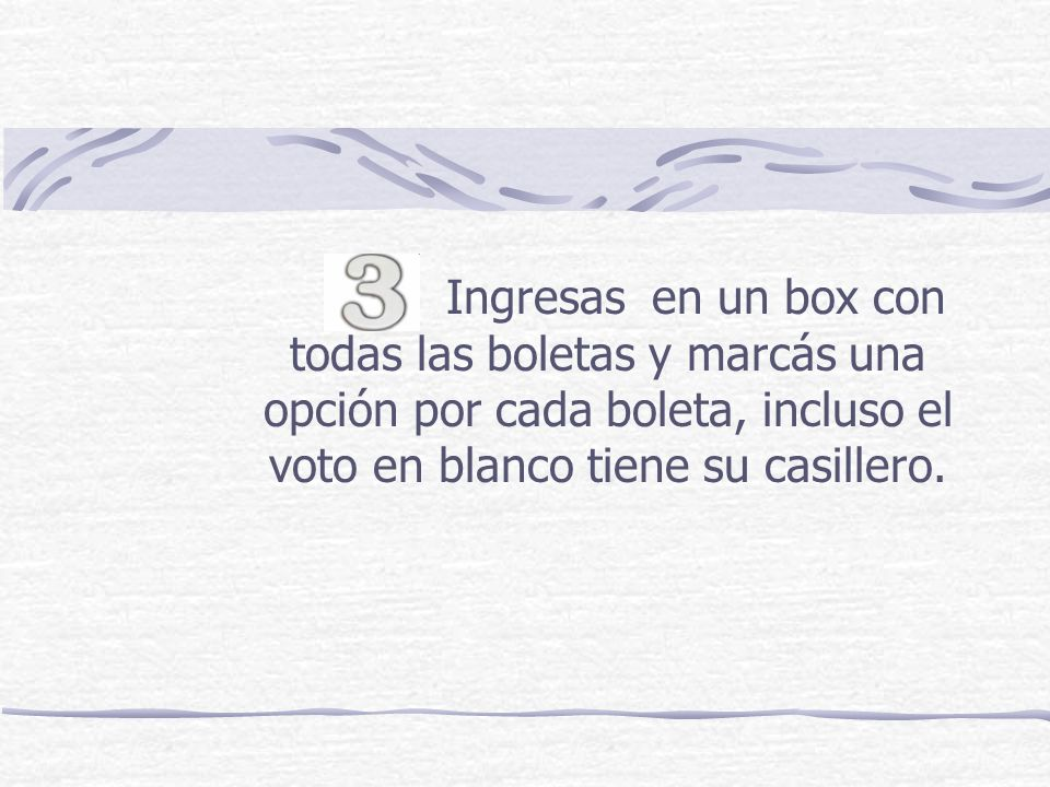 Ingresas en un box con todas las boletas y marcás una opción por cada boleta, incluso el voto en blanco tiene su casillero.