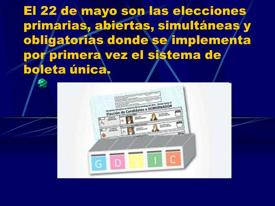 El 22 de mayo son las elecciones primarias, abiertas, simultáneas y obligatorias donde se implementa por primera vez el sistema de boleta única.