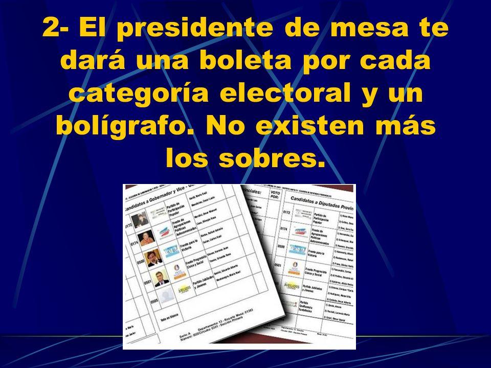 2- El presidente de mesa te dará una boleta por cada categoría electoral y un bolígrafo. No existen más los sobres.