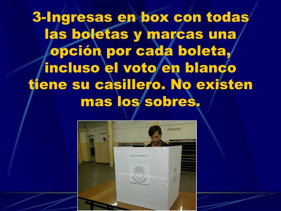 3-Ingresas en box con todas las boletas y marcas una opción por cada boleta, incluso el voto en blanco tiene su casillero. No existen mas los sobres.